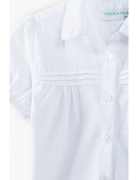 Biała elegancka koszula dziewczęca zapinana na guziki - krótki rękaw