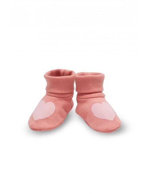 Kapcie dziewczęce różowe w serduszka