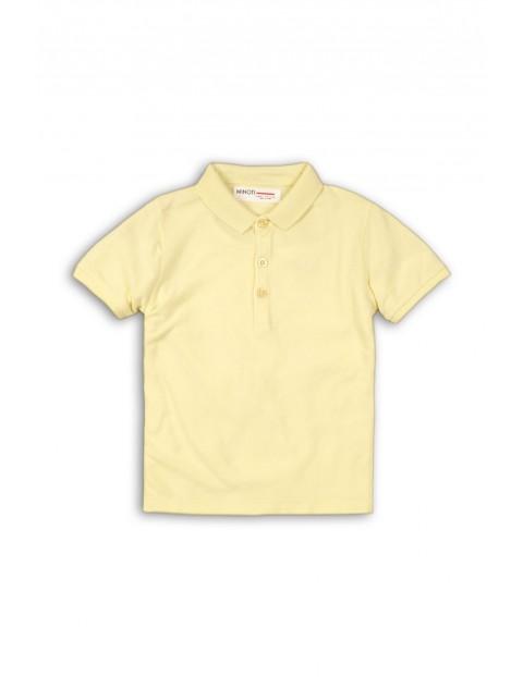 Żółty t-shirt chłopięcy z kołnierzykiem rozm 92/98
