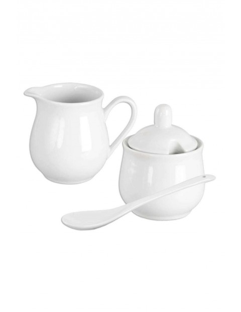 Zestaw porcelanowy cukierniczka z łyżeczką i mlecznik