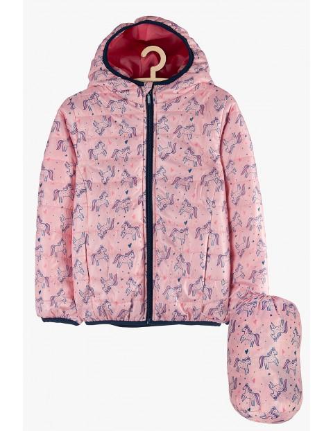 Kurtka dziewczęca różowa w jednorożce