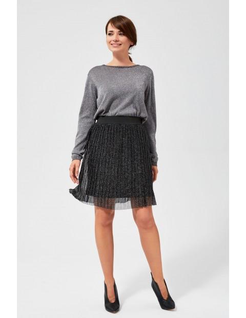 Spódnica damska plisowana- czarna ze srebrną nitką