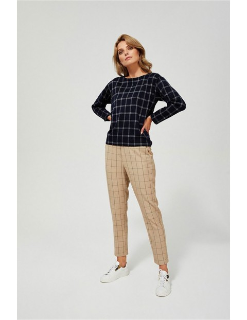 Spodnie cygaretki z gumką w pasie - beżowe w kratę
