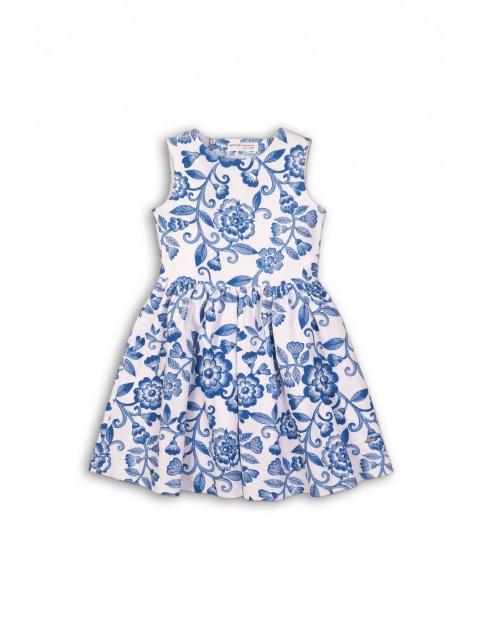 Sukienka dziewczęca biała w niebieskie kwiaty