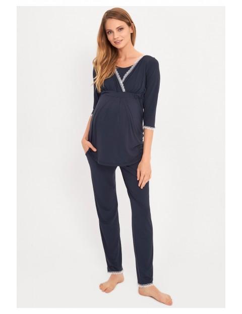 Granatowa piżama nocna dla kobiet w ciąży i karmiącej mamy