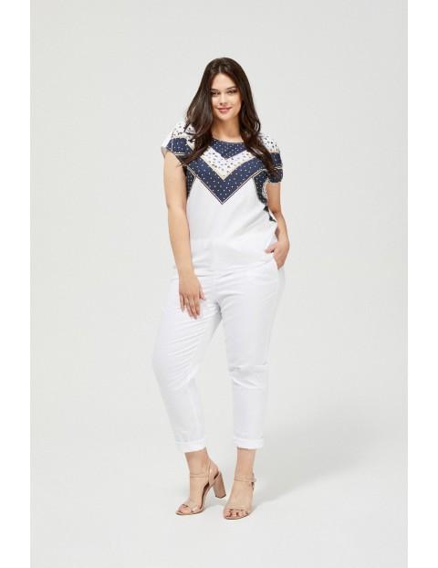 T-shirt damski z nadrukiem w geometryczny wzór