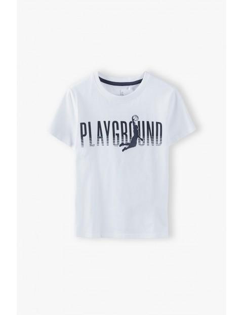 Bawełniany t-shirt chłopięcy biały z napisem- Playground