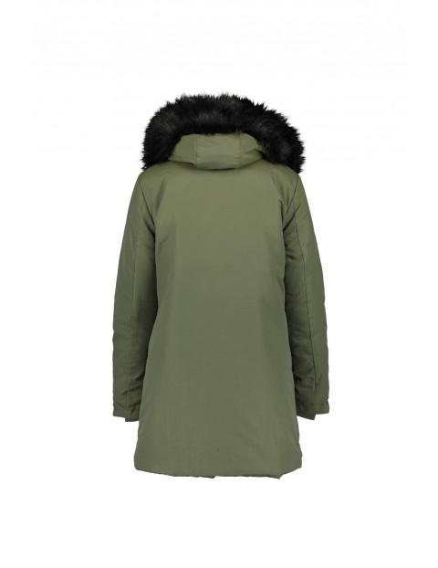 Damski płaszcz z tkaniny - khaki