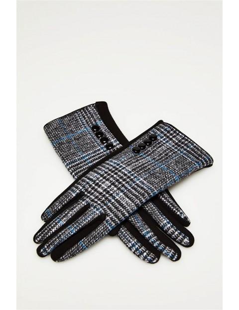 Długie stylowe rękawiczki damskie  w pepitkę - czarne