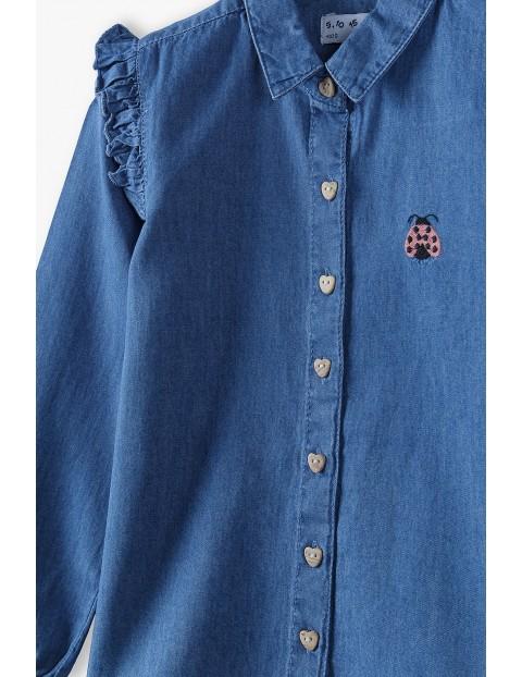 Bawełniana koszula dziewczęca z biedronką - niebieska