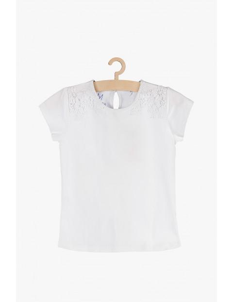 Bluzka dziewczęca biała z koronkowymi wstawkami