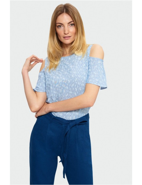 Bluzka z odkrytymi ramionami i krótkim rękawem- niebieska w paski