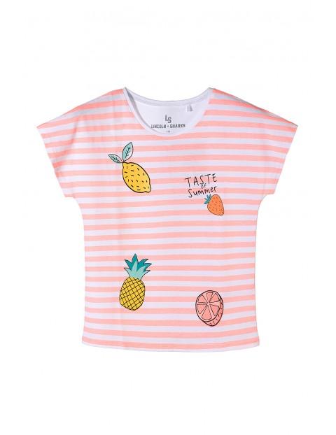 T-shirt dziewczęcy w paski- owocowe nadruki