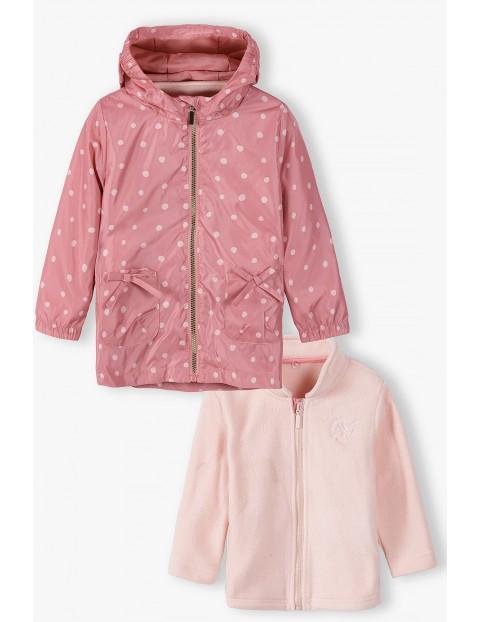 Kurtka przejściowa dziewczęca 3 w1 w kropki różowa z bluzą
