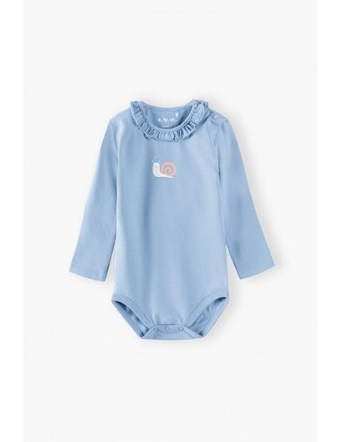 Body niemowlęce z ozdobną falbanką - niebieskie