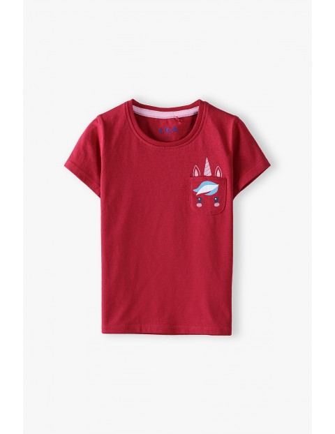 Bawełniany t-shirt dziewczęcy z jednorożcem