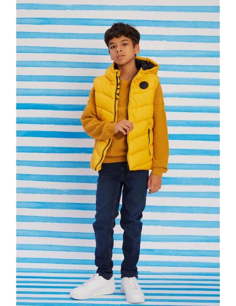 Bezrękawnik chłopięcy żółty z kapturem - pikowany