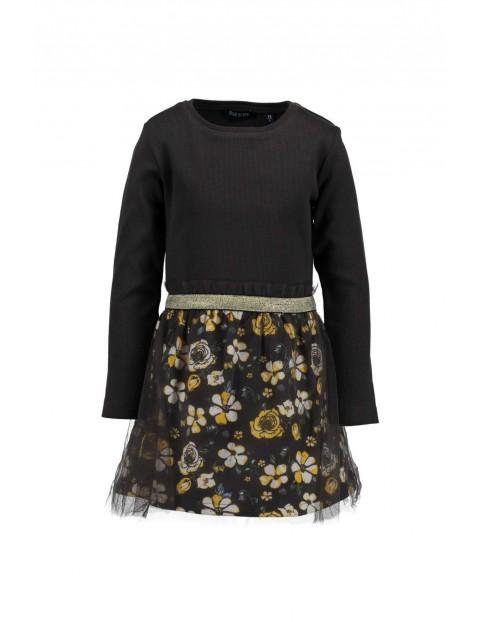 Sukienka czarna w kwiatowy wzór