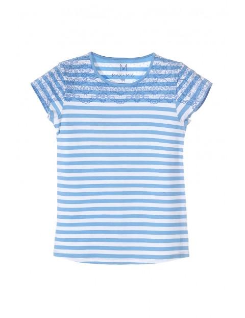 T-shirt dziewczęcy w biało niebieskie paski