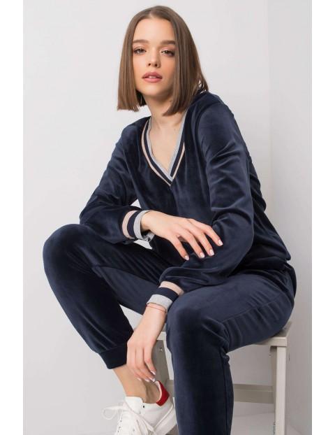 RUE PARIS Komplet dresowy damski - bluza i spodnie dresowe - granatowe