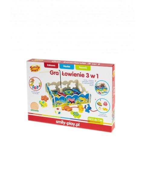 Gra Łowienie 3w1 - Drewniana zabawka edukacyjna wiek 3+