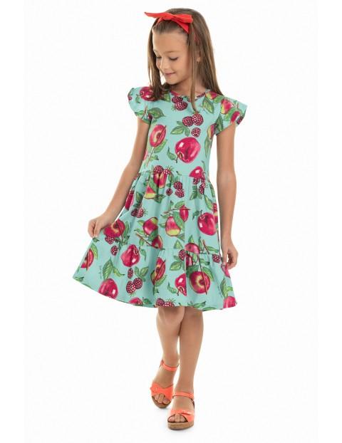 Sukienka dziewczęca niebieska w owoce
