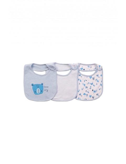 Bawełniane śliniaki niemowlęce 3pak- niebieskie