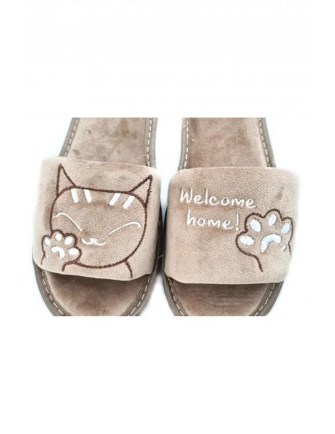 Kapcie damskie frotte kotki- beżowe