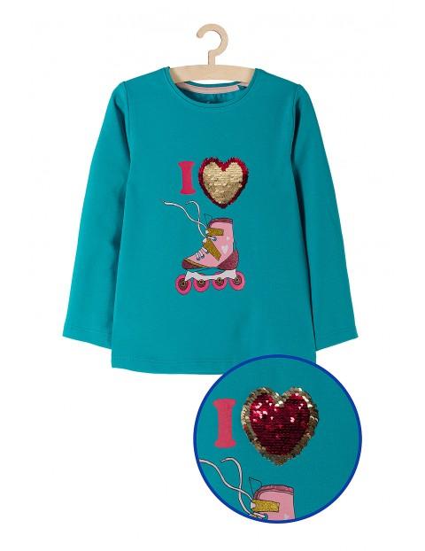 Bluzka dziewczęca niebieska z rolkami-odwracane cekiny