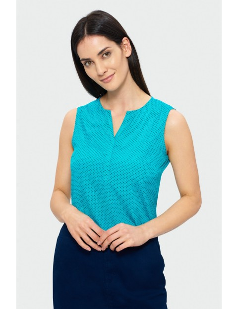 Bluzka damska bez rękawów- niebieska dekolt V