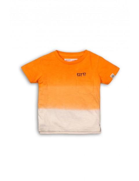 T-shirt ombre pomarańczowo-biały z kieszonką