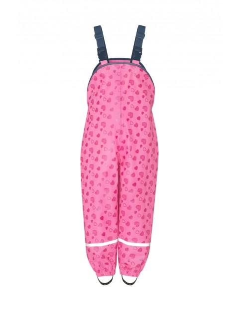 Spodnie przeciwdeszczowe w serduszka różowe