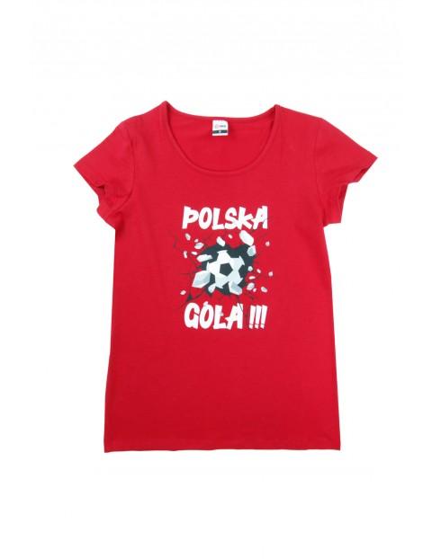 T-shirt o klasycznym kroju z nadrukiem POLSKA GOLA czerwony
