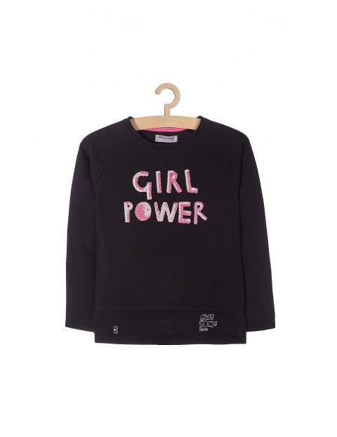 Bluza sportowa dla dziewczynki-czarna z cekinami z przodu