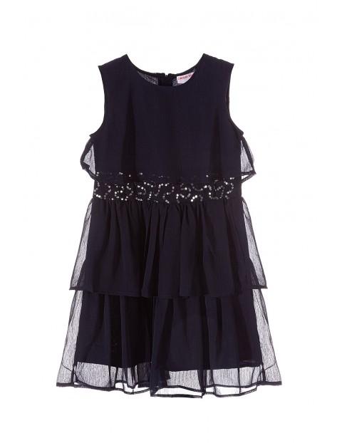 Sukienka dziewczęca granatowa z cekinowym pasem