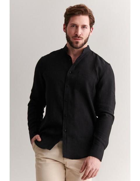 Lniana koszula męska - czarna z długim rękawem