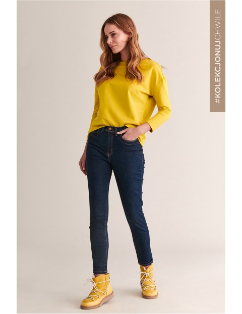 Jeansowe rurki damskie granatowe