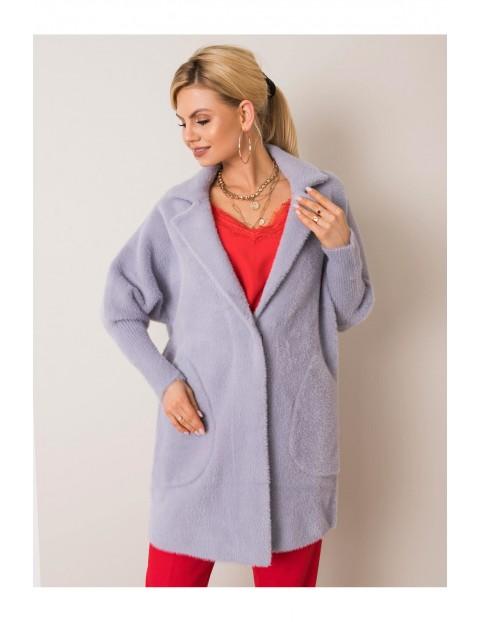 Płaszcz damski z kieszeniami - szary