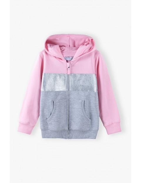 Szaro - różowa bluza dziewczęca z kapturem