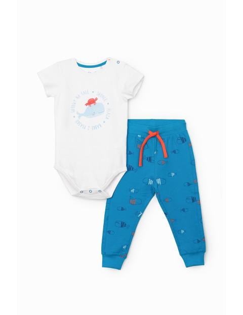 Komplet niemowlęcy- body i spodnie dresowe z wielorybem