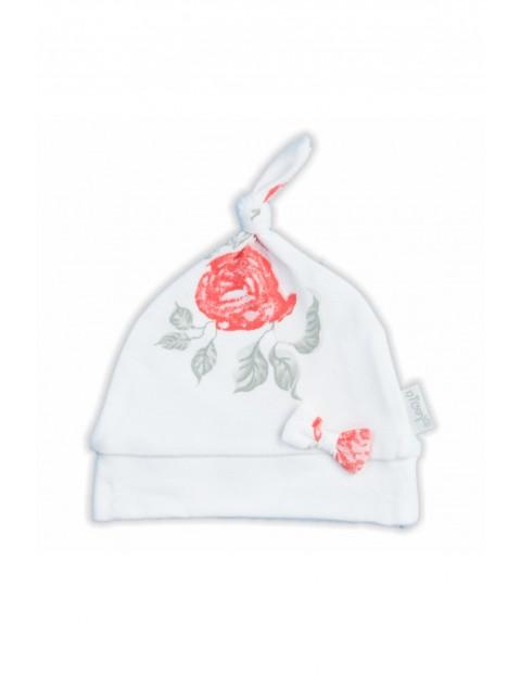 Bawełniana czapka dziewczęca  z kolekcji Róża