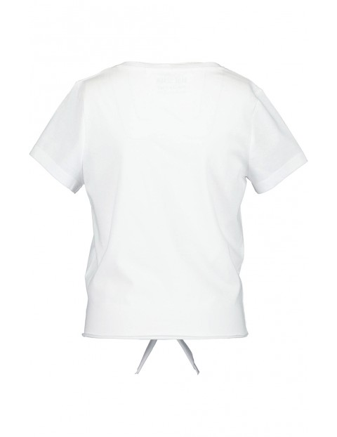 Koszulka dziewczęca biała z napisem i dekoracyjnym wiązaniem