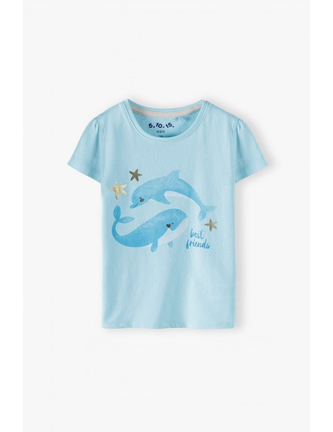Bluzka dziewczęca z krótkim rękawem-niebieska z delfinami
