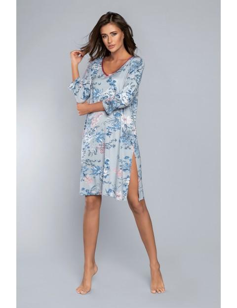 Niebieska koszula nocna w kwiaty z ozdobnym rozporkiem