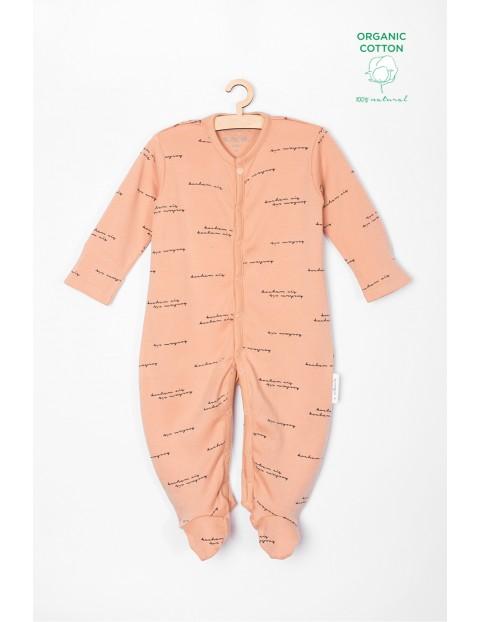 Pajac niemowlęcy z bawełny organicznej z napisem Kocham Cię