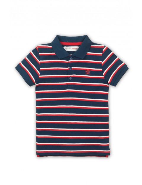 T-shirt niemowlęcy w granatowo-czerwone paski