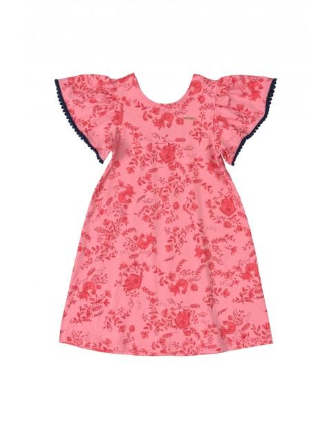Sukienka dziecięca  w kwiatki - różowa
