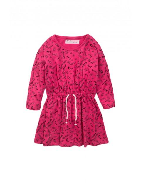 Sukienka niemowlęca bawełniana - różowa z długim rękawem