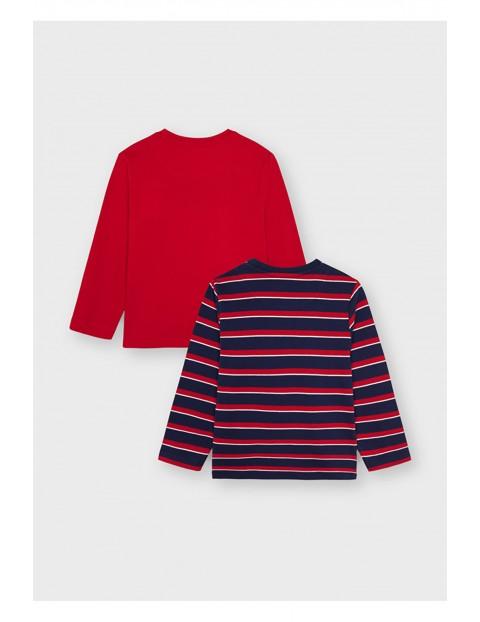 Komplet bawełnianych koszulek chłopięcych z długim rękawem Mayoral - 2 sztuki