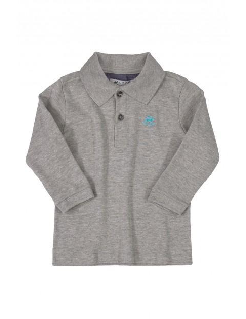 Bawełniana bluzka chłopięca z długim rękawem - szara